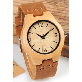 Oferta Reloj Madera Correa De Cuero Y Caja Envio Gratis