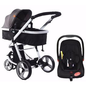 Carrinho Moisés 03 Rodas Preto + Bebê Conforto - Dardara