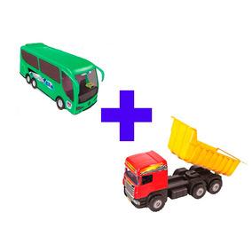 Kit Ônibus Expresso 414 + Caminhão Super Caçamba Vermelho