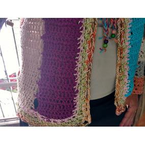 Saco Tejido A Mano Con Algodon Rustico Crochet