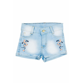 Short Jeans Meninas Feminino Bordado De Flores Tam 02 Ao 16