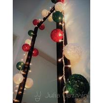 Guirnalda De Luces Con Esferas De Hilo. Deco Navideña!!