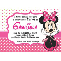 Minnie Convites Personalizados Aniversário 10x7cm (40 Unid.)