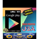 Tarjeta Google Play Store Card 25 Usd   Usa