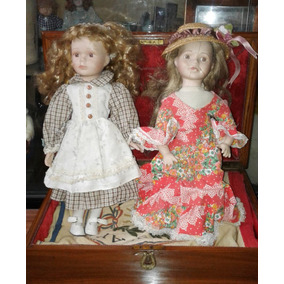 Dos Antiguas Muñecas D/porcelana Spañolas P/restaurar 4o Cm.