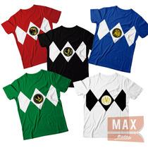 Kit 5 Camisetas Uniforme Power Rangers Cores Serie