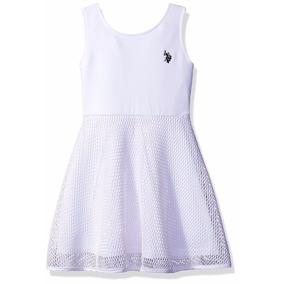 Vestido Branco Infantil Com Renda U.s.p.a Polo Assn