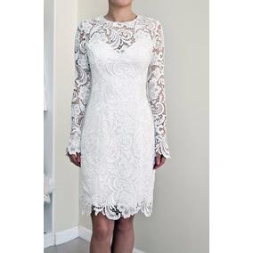 Vestido Noiva Midi Renda Guipir Nobre Civil Lápis Tubinho