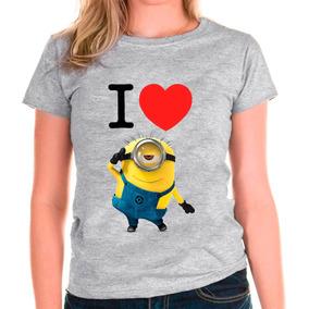 Camiseta Baby Look I Love Minions Camisa