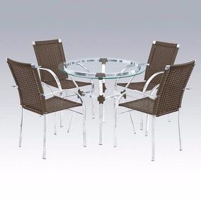 Jogo De Mesa Com 4 Cadeira Em Alumínio E Fibra Sintética