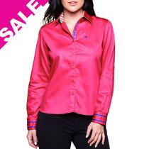 Camisa Feminina Blusa Lisa Rosa Pink Manga Longa Fit