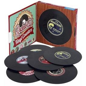 Set De 6 Posa Vasos Forma Disco De Vinil Retro Vintage H1277