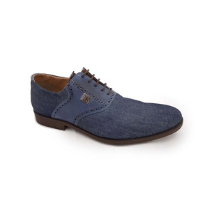Sapato Masculino Casual Couro E Jeans Azul Perlatto. 9616