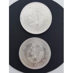 2 Monedas De Plata - 5 Pesos - Cuauhtemoc - 1947 Y 1948