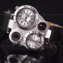 Reloj Oulm Ruso 100%original Termómetro Ybrujula Doble Reloj