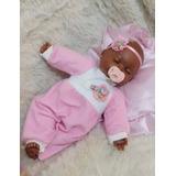 Boneca Bebe Negra Reborneada Baby Brinck Tamanho 35 Cm Linda