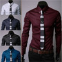 Camisa Masculina Slim Fit Manga Longa - Importada Frete R$20