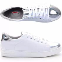 Tenis Sapatenis Feminino Metalizado Branco Prata Confortável