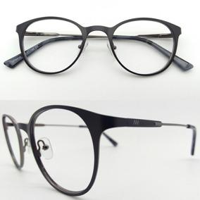 af4334258 Armação De Grau Óculos Redondo Metal Preto Fosco 6638-c5