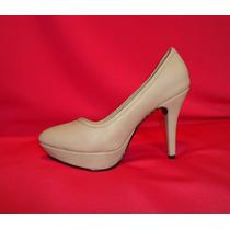 Zapato Mujer Plataforma Taco 10 Beige Talla 36