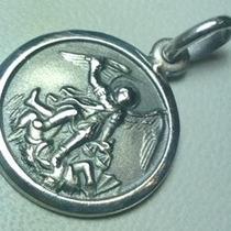 Medalla De San Miguel Arcangel Plata 925 18 Mm. Diametro
