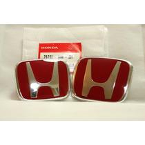 Kit Emblemas Vermelhos Honda Civic Fit City New Si Type R