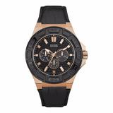Reloj Guess W0674g6 Cuero Negro Dorado Original Hombre