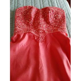 Vestido De Noche, Color Coral, Con Predería En Corsette