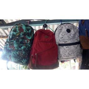 Morral De Dama Bag Pack Azul Navy Carteras Lona
