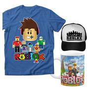 Combo Playera Niños Roblox, Taza Y Gorra Infantil Videojuego
