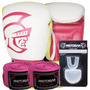 Kit Boxe Training Pretorian -10 Oz Branco E Pink