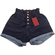 Short Jeans Plus Size Feminino Cintura Alta Lycra E Elastico