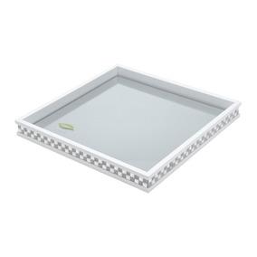Bandeja De Madeira Com Vidro Bisotê Diamond Branca 36,5x36,5