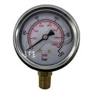 Manometro 100 Bar Vertical Com Glicerina - R.1/4 Npt
