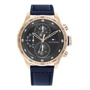 Reloj Tommy Hilfiger Trent Malla De Cuero Azul 1791808