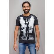Camiseta Premium Estampada Rock Wings Corte A Fio