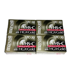 Maxell Vhs-c Tc-30 Hgx Gold Blank Cassettes - Pack Of 4 Cass