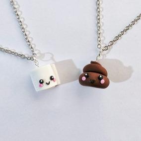 Collar Pareja Amor Amistad Kawaii Mitades Poop Emoji