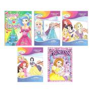 5 Libros Jumbo Princesas Colorear Iluminar Para Niña Surtido