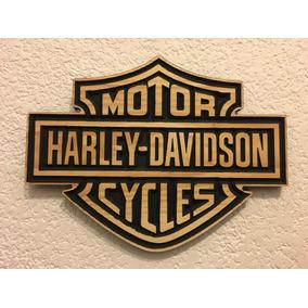 Logo Harley Davidson Tallado En Madera Envio Gratis