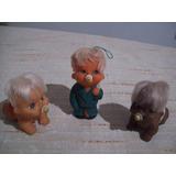 Lote De 3 Antiguos Bebes Goma Con Chupete . Juguete Vintage
