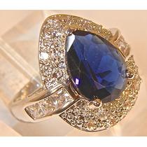 Rsp J4384 Anel Prata 925 Rodinado Qtz Safira Azul Brilhantes
