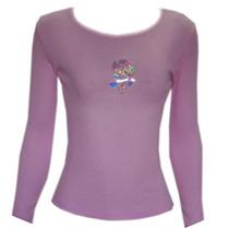 Camiseta Lilás Decote Canoa Ribana Mg Longa Tam P Ref 1226