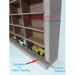 Estante Expositor 60 Carrinhos Escala 1:64 Com Canaleta