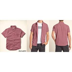 Hollister Camisa Manga Curta Poplin Shirt Burgandy Importada