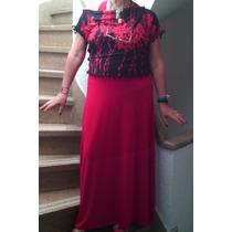 Vestido Largo Rojo Casaca Negra Importado L
