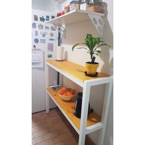Desayunador Barra Mueble De Cocina Hierro Y Madera