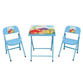 Mesa Mesinha Infantil Criança Aço Com 2 Cadeiras Azul