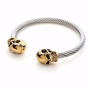 Pulseira Bracelete Em Aço Crânios Caveiras Gêmeas Skull Punk