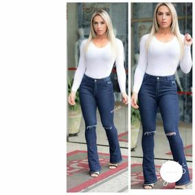 Calça Jeans Feminina Flare Cintura Média Alta Linda B21
